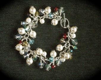 Cha Cha Bracelet, Elegant Glass Bead And Pearl Sterling Silver Charm Bracelet