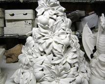 Rare,Vintage,Table top Tree,Poinsettia Tree,Ceramic Christmas tree,Flower tree,Christmas Decoration,Ready to paint,Ceramic bisque,u-paint