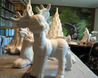 Large,Standing Reindeer, Softy,Softie,Stuffed, Christmas decoration, Santa's Reindeer, Kimple Softee, Ready to paint,Ceramic bisque, u-paint