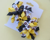 Hair Bow Set - Small Yellow and Black Football Korkers
