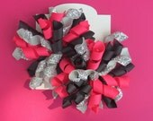 Hair Bow Set - Glitter Silver, Shocking Pink, and Black Korkers