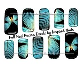 Blue Butterfly Nail Art Set of 24 Full Nail Fusion Decals by Inspired Nails