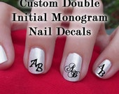 Custom Double Initial Monogram Nail Decals Set of 80 Decals