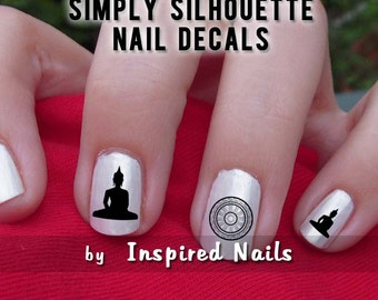 Buddha and Dharma Wheel Nail Decals Black and Clear Simply Silhouette by Inspired Nails