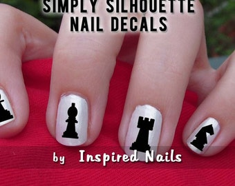 Chess Game Pieces Nail Decals Black and Clear Simply Silhouette by Inspired Nails