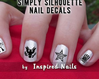 All American Nail Decals Black and Clear Simply Silhouette by Inspired Nails