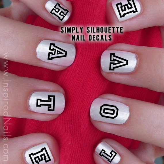 Love Hate Block Style Nail Decals Black and Clear Simply Silhouette by Inspired Nails
