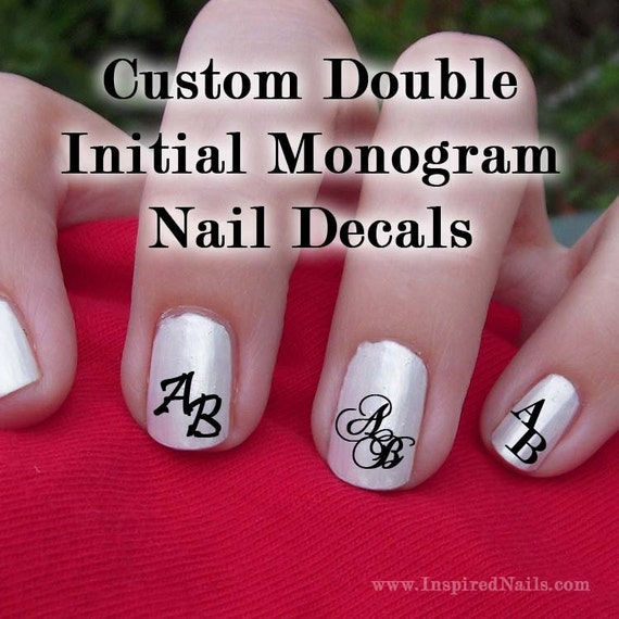 items similar to custom double initial monogram nail decals set of 80 decals on etsy