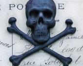 Large skull and crossed bones, black patina brass stamping, 55mm