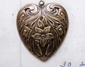 One Large Neo Victorian Heart Charm with Flower Oxidized Brass - Jewelry Supplies by CalliopesAttic