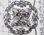 Medieval brass filigree stamping, Sterling Silver Finish