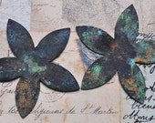 """Two scrapbooking flower shapes, hand patina, 2.5"""" X 2.5"""""""