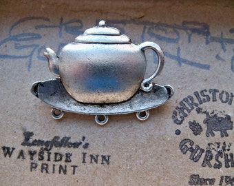 TWO Heavy casting teapot pin finding with clutch, silver plated brass