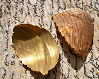Two brass ox leaf stampings, approximately 1960's with natural patina.