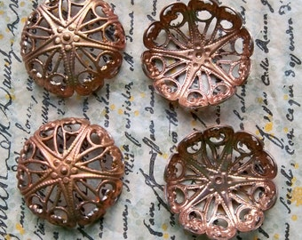 Four 18mm filigree cabochon settings with natural patina