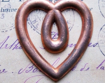 Heart Stamping, Hollow Back, Copper Plated - Jewelry Supplies by CalliopesAttic