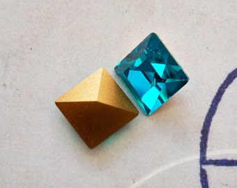 Two Vintage 8 X 8mm square Swarovski crystals, Zircon