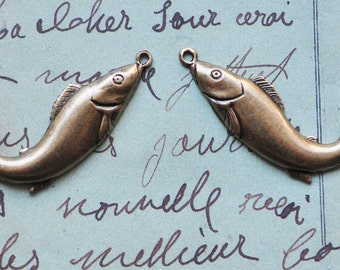 Two Fish Charms, Left and Right, Dark Brass Oxidation - Charms - Findings by CalliopesAttic