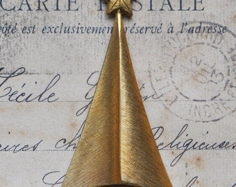 Party hat with star, thick gauge, raw brass