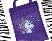 CUSTOM-Unicorn on purple tote bag