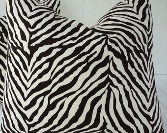 Brown Zebra Stripe Pillow Cover - 16 inch - Throw Pillow - Brown Zebra/Animal Print