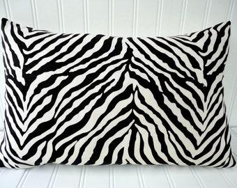 Black Zebra Pillow - 12 x 18 inch Throw Pillow - Black and White Zebra/Animal Print Pillow