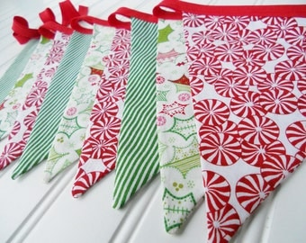 Christmas Bunting Banner Garland- Fabric Banner, Red and Green - HOLLY JOLLY Christmas Banner. Medium Flag