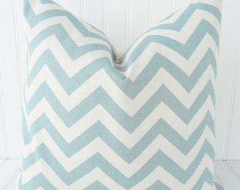 Blue Chevron Pillow Cover - Throw Pillow - Blue and Ivory Zig Zag Chevron