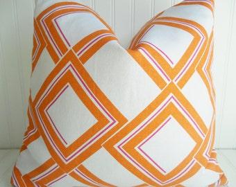 Orange Pillow.Decorative Orange Pillow.Tangerine Orange Pillow.Geometric Triangle Pillow.Orange Pillow Cover.Cushion Cover.Orange Pillows