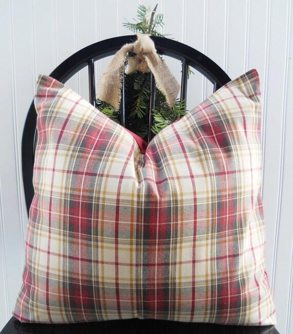Decorative Pillow Cover - 18 x 18 Red Throw Pillow - Red Tartan Plaid - Ralph Lauren Accent Pillow - Soft Wool/Cotton Blend