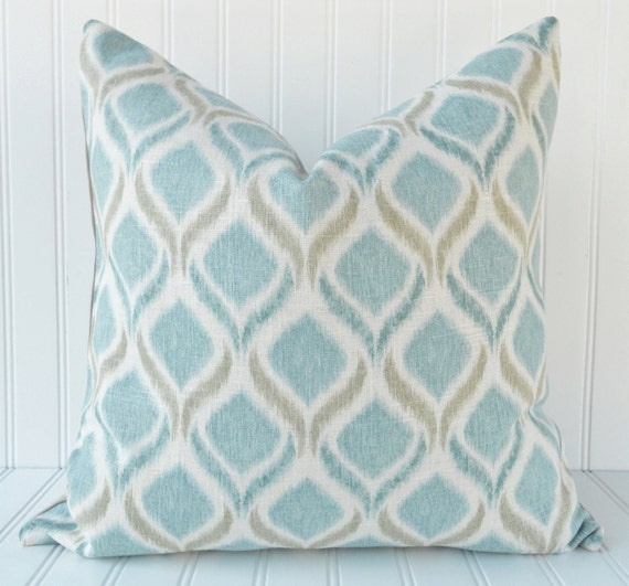 Blue IKAT Throw Pillow - 18 x 18 inch - Blue Teal Taupe and Ivory - Rayon/Linen - Blue Ikat Pillow Cover