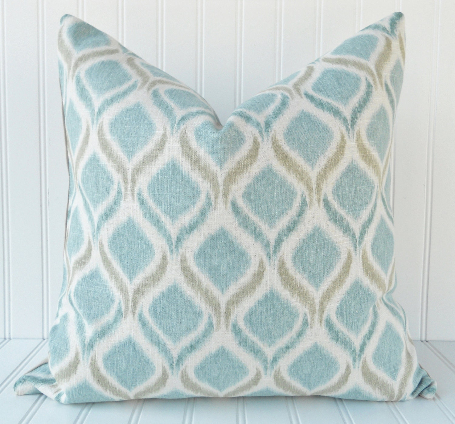 Blue IKAT Throw Pillow 18 x 18 inch Blue Teal Taupe and