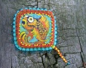 GOLDFISH fishy cute hand painted wood and bead woven embroidered colorful brooch pin