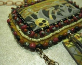 Hopes and Fears - shrink plastic beadweaving bead embroidery copper chain necklace and earrings set