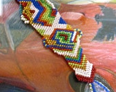 I HEART YOU love multicolor beaded beadwoven beadweaving bracelet
