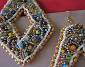 HUMONGOUS bead embroidery statement earrings - lightweight yet sturdy