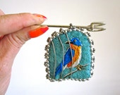FREE BIRD eastern blue bird embroidered beaded cage fiber art brooch pin