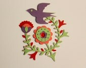 Die Cut Floral with Bird Mexico