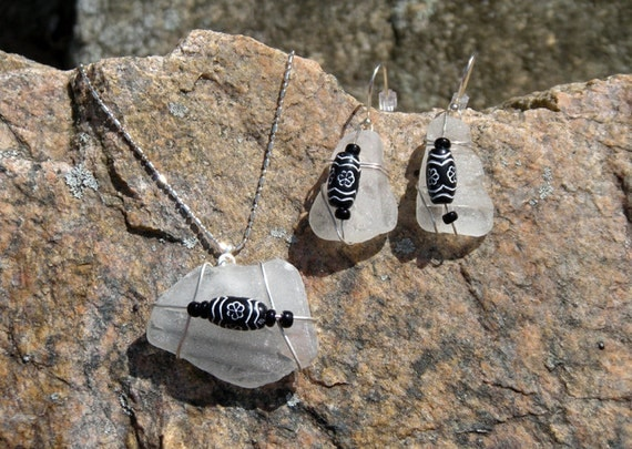 Sea glass necklace & earring set black and white handmade jewelry recycled glass