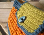 Crocheted purse- blue, green and orange