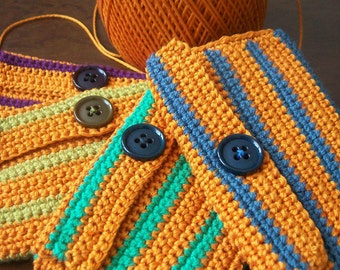 Crocheted Card Holder-Little case- turquoise, lime green, blue, purple, orange with buttons