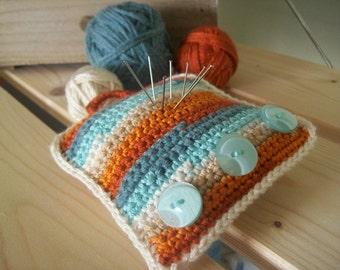SALE-SHOP CLEARANCE-Crochet pincushion, pastel colors, blue, cream and orange, crochet cozy, crochet needlework, crochet item, crochet gift
