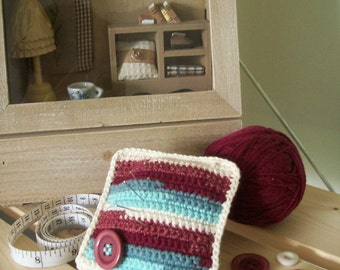Crochet pincushion, pastel colors, turquoise, cherry, cream with cherry button
