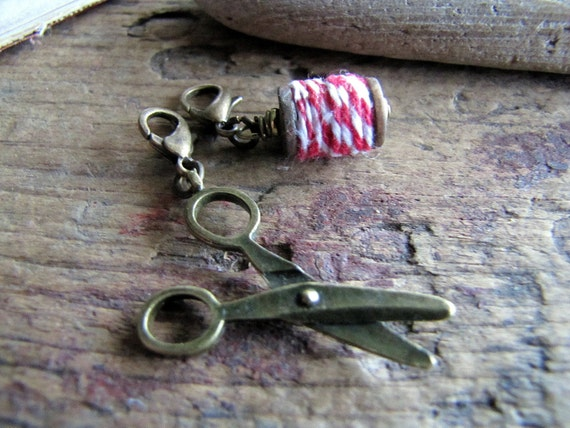 Sewing Charms, Scissors and Miniature Spool Charm Set, Charm Duo