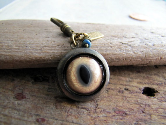 Bobcat Eye Locket, Protector Series, Eyeball Jewelry, Cat Eye