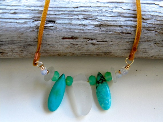 Sea glass, turquoise and moonstone necklace