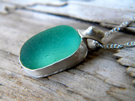 Rare Teal Green Authentic Sea Glass Necklace - Sterling Silver Jewelry Handmade