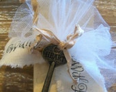 125 Hand Dyed & Distressed Hang Tags with Cotton String - Tulle Ribbon - Stamped Ribbon - Vintage Seam Binding - Word Key - New Item