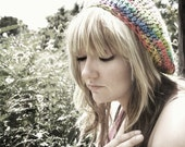 Beret Rainbow Crochet Hat, Colorful