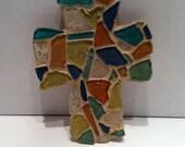 JR102 glass mosaic wooden cross
